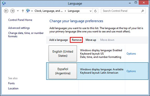 Image of Language window with Remove selection highlighted