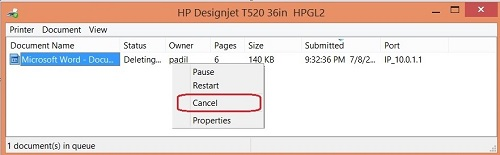 "Image:  The Windows print spooler window showing a document with the status of ""Deleting""."