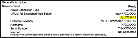 EWS URL on the Network Configuration Page