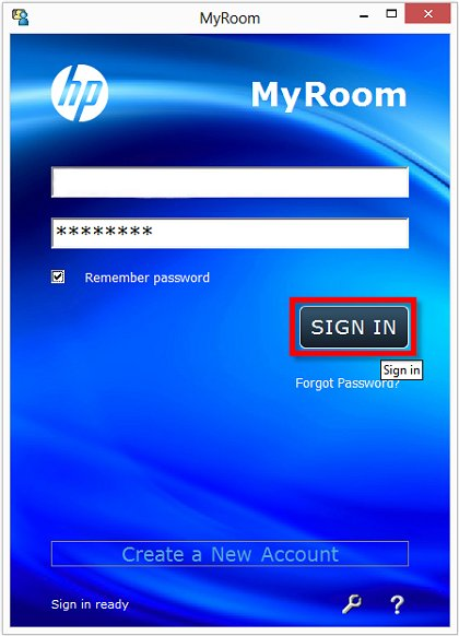 Image of the HP MyRoom Sign in screen