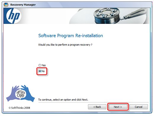 Image of the software program re-installation screen indicating selections
