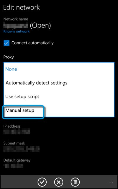 Edit network screen with Manual setup highlighted under Proxy