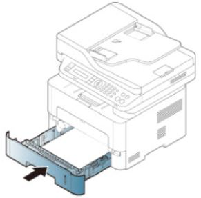 Arrow indicates sliding paper tray back into printer