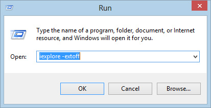 Run window with iexplore -extoff typed