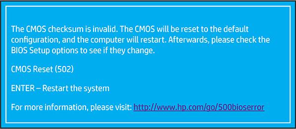 Identifying the CMOS Checksum Error (502)