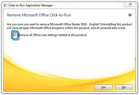 Box checked for removing all Microsoft Office