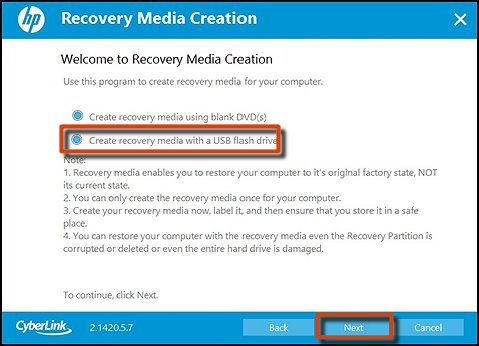 Create recovery media with a USB flash drive and Next selected
