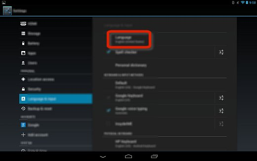 Language in the Language & input settings menu