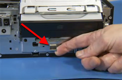 Location of the hard drive latch