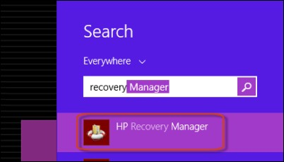 Velge HP Recovery Manager