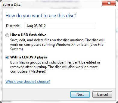 Burn a Disc formatting option