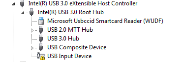 Imagen: Ejemplo de un dispositivo USB en estado de error en el Administrador de dispositivos