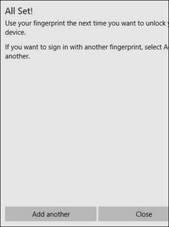 Completing Windows Hello fingerprint setup