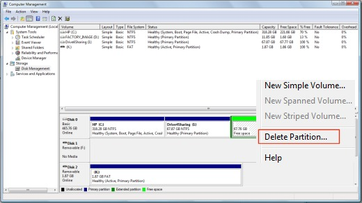 Image of the Delete Partition menu.