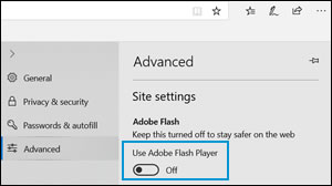 Emplacement du commutateur Utiliser Adobe Flash Player