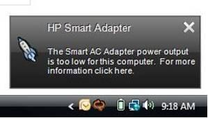 Smart Adapter message - power output is too low