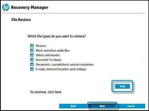 Hp recovery manager restore files