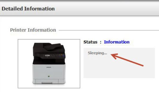 Image highlights status of printer