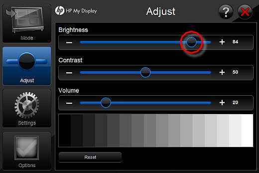 Adjust window with the Brightness button selected