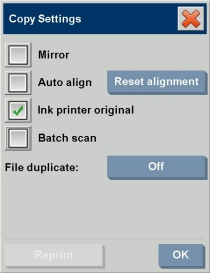 Copy settings dialog