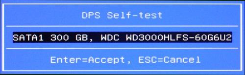 DPS Self-test screen