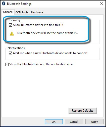 Allow Bluetooth devices to find the PC is checked