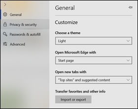 The General settings window