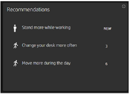 HP WorkWell Recommendations section listing Stand more while working, Change your desk more often, and Move more during the day