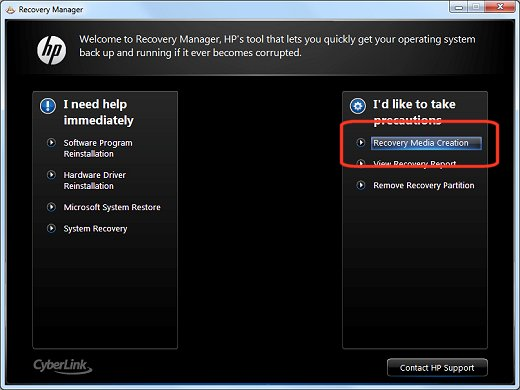 Recovery Manager screen with Recovery Media Creation selected