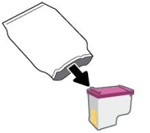 Removing the ink cartridge from its package