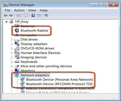 Device manager with Bluetooth devices called out.