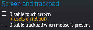 Screen and trackpad category
