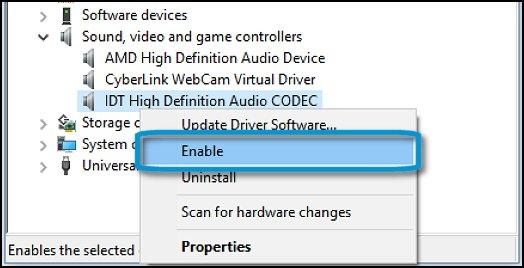 Habilitación de un dispositivo de sonido desactivado