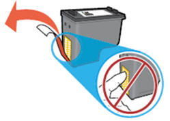 Image: Remove the plastic tape and do not touch the contacts or ink nozzles