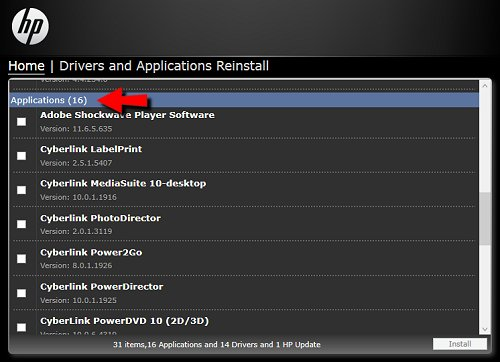 List of applications to reinstall.