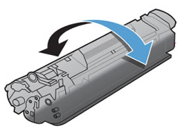 Arrows show  gentle rocking the toner cartridge