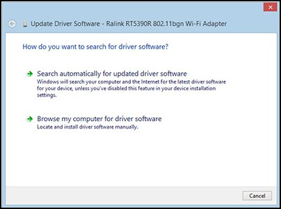 Update Driver Software window