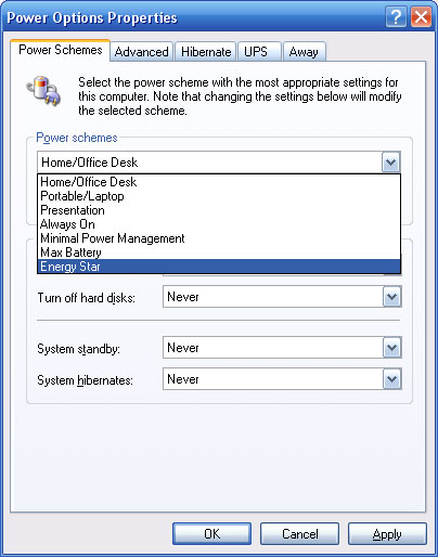 Power Options Properties window with Power Schemes tab selected.