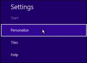 The Personalize selection in Settings