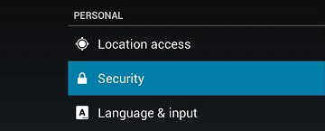 Security in the Personal section of Settings