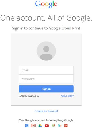Image shows example of the Google/Gmail login prompt