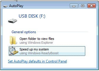Autoplay window with Speed up my system selected
