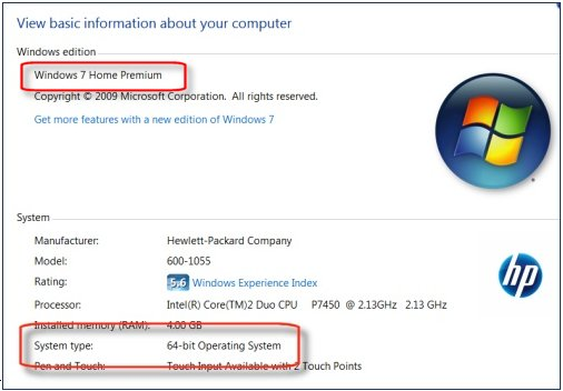 System Properties showing Windows 7 Home Premium Edition 64-bit version
