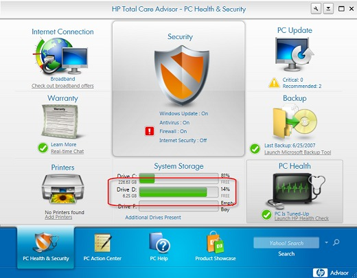 HP PCs - Error: Low Disk Space  You are running out of disk space on