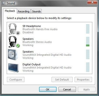 Image of the Sound - Playback tab.