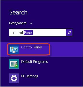 Opening Control Panel from the Windows Start screen