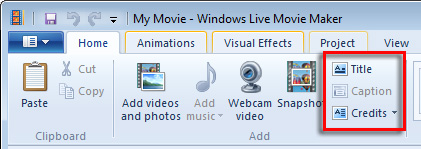 Image of Movie Maker Home tab