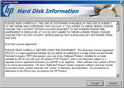 Hard disk information, terms and agreement for use