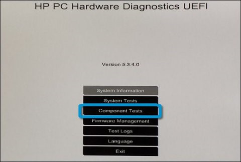 Komponenttester i HP PC Hardware Diagnostic UEFI