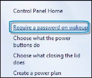 Control Panel Home with Require a password on wakeup selected
